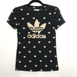 Adidas Flocked Trefoil Adi Logo Heart Graphic Tee
